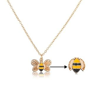 Jewelry - Dainty Gold Bumblebee Honeycomb Pendant Necklace
